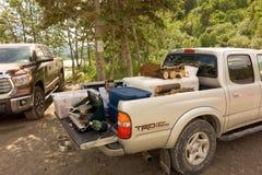 Tail-gating in Alaska tijdens zalmseizoen Royalty-vrije Stock Foto's