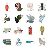 Tail, history, travel and other web icon in cartoon style.Food, animal, fishing icons in set collection. Stock Photo