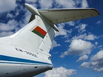 Tail of il-76MD, Belarussian transport aircraft. stock image