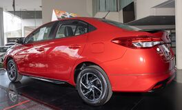 Tail Left Red Toyota Yaris Ativ 2020 Car in Car Showroom