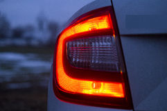 Tail light car night Royalty Free Stock Images