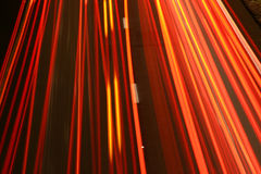 Tail Light Pattern. Orange stripes created by tail lights on the highway Royalty Free Stock Photos