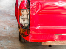 A tail light of pick-up car damage car by accident Royalty Free Stock Photo