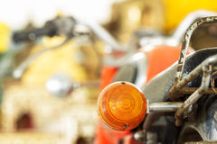 Tail light vintage motorcycle shallow depth of field Royalty Free Stock Images