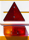 Tail lights of a vehicle. Tail lights of a transportation vehicle royalty free stock photography