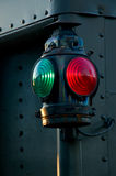 Tail Marker. An antique red and green railroad caboose marker lamp Royalty Free Stock Photo