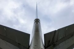Tail on a old decommissioned Boeing 747 stock photography