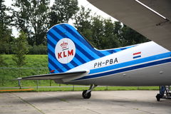 Tail of old KLM DC-3 Royalty Free Stock Images