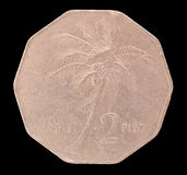 Tail of a 2 piso coin, issued by Republic of the Philippines in 1986 depicting a coconut palm Stock Photo