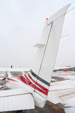 Tail of private plane at the airport Royalty Free Stock Photo