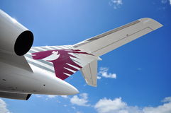 Tail and rear wing of Qatar Executive Bombardier Global 5000 business jet on display at Singapore Airshow 2012 Stock Photo