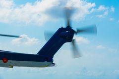 Tail rotor of helicopter. Is rotating stock photos