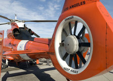 Tail rotor of a rescue helicopter. Closeup of the tail rotor of a rescue helicopter Royalty Free Stock Images