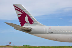 Tail section of a Qatar Airways Airbus A340. MALE, MALDIVES - SEPTEMBER 4, 2014: Tail section of a Qatar Airways Airbus A340 at Ibrahim Nasir International Stock Photo