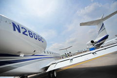 Tail sections of Gulfstream G280 and G150 business jets at Singapore Airshow Stock Image