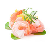 Tail of shrimp with fresh lemon Royalty Free Stock Images