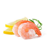 Tail of shrimp with fresh lemon Stock Photo