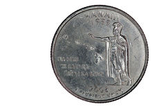Tail Side of US Hawaii State Quarter Closeup Royalty Free Stock Image