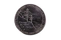 Tail Side Of US Lewis And Clark Nickle Coin. United States Nickle Tail Side Lewis And Clark Ocean In View Coin royalty free stock photos