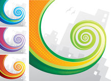 Tail Spiral. Colorful spiral chameleon tail with city background. Vector layered Royalty Free Stock Photography