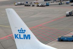 Tail unit with logo of Royal Dutch Airlines KLM, Netherlands Royalty Free Stock Photos
