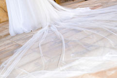 Tail white wedding dress Royalty Free Stock Images