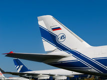 Tail wings of an airplane, Antonov Volga-Dnepr. ZHUKOWSKY - AUGUST 17: Large tail wings of Russian AN-124-100 jet, Antonov Volga-Dnepr at International Aviation royalty free stock photography