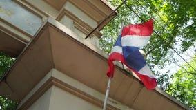Tailandés de la bandera nacional, princesa Mother Memorial Park, Bangkok Tailandia almacen de metraje de vídeo