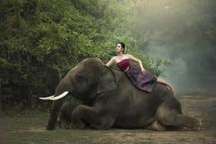 Tailandês, mulher do retrato foto de stock