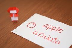 Tailandese; Apprendimento della lingua nuova con i flash card di nome di frutti Fotografie Stock Libere da Diritti
