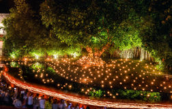 Tailandia, Chiang Mai junio 06,2015 - Visakha Puja Day, el cerem Imagen de archivo