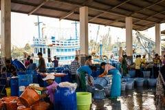 Tailandia - 21 de enero: mercado de pescados en el pueblo pesquero, Nakhon Si Imágenes de archivo libres de regalías