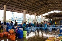 Tailandia - 21 de enero: mercado de pescados en el pueblo pesquero, Nakhon Si Fotos de archivo libres de regalías