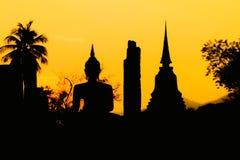 Tailandia, puesta del sol de Sukhotha Buda Fotografía de archivo libre de regalías