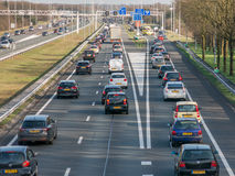Tailback during peak hour on freeway, Netherlands Stock Photography