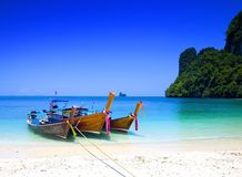 tailboats by the shore at Hong Island, Thailand Royalty Free Stock Photos
