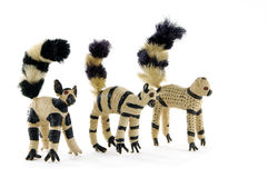 Tailed lemur toys. Crochet  straw  ring-tailed lemur toys Royalty Free Stock Photography