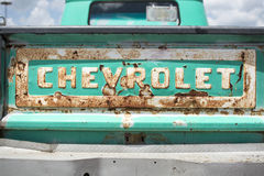 Tailgate of a classic Chevolet truck at a car show Stock Images