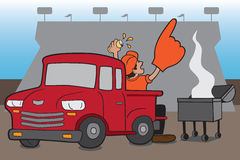 Tailgate Party. Enthusiastic sports fan celebrating in stadium parking lot Stock Photo