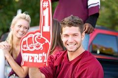 Tailgating: De voetbalventilator steunt Nummer Één Schuimvinger stock foto's
