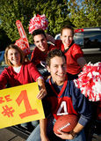 Tailgating: Excited Fans Cheering For Team And Holding Sign Royalty Free Stock Images