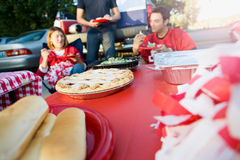 Tailgating: Focus On Apple Pie On Table Of Tailgate Party Food Stock Photography