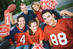 Tailgating: Group Of Football Fans Cheering For Team royalty free stock image