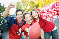 Tailgating: Three Friends Cheer For Favorite Team stock photos