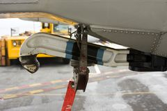 Tailhook on a Military Fighter Jet. Tailhook on a Military Carrier Fighter Jet stock photos