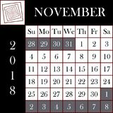 Taille gigantesque de NOVEMBRE de calendrier carré du format 2018 Image libre de droits