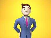 Taille omhoog van Glimlachende Zakenman On Yellow Background stock illustratie