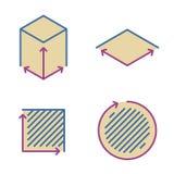 Taille, secteur, icônes carrées de concept Symbole de mesure et de dimension illustration libre de droits