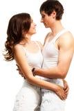 Taille vers le haut de la verticale de beaux couples Image stock