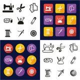 Tailleur Shop All dans les icônes une noires et la conception plate de couleur blanche à main levée réglée Images stock
